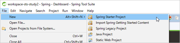 Spring Starter Projectを選択