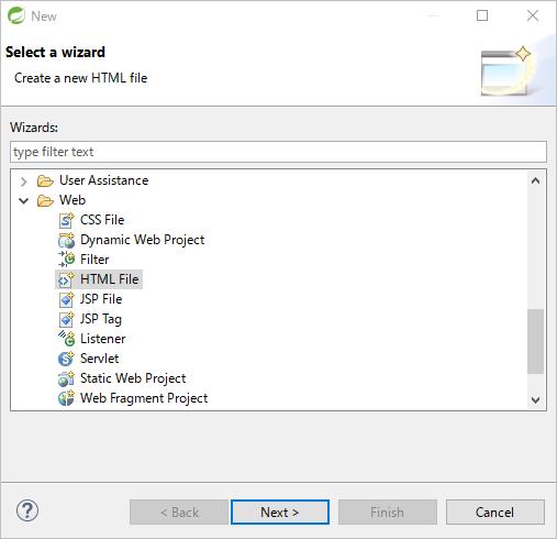 HTML Fileを選択